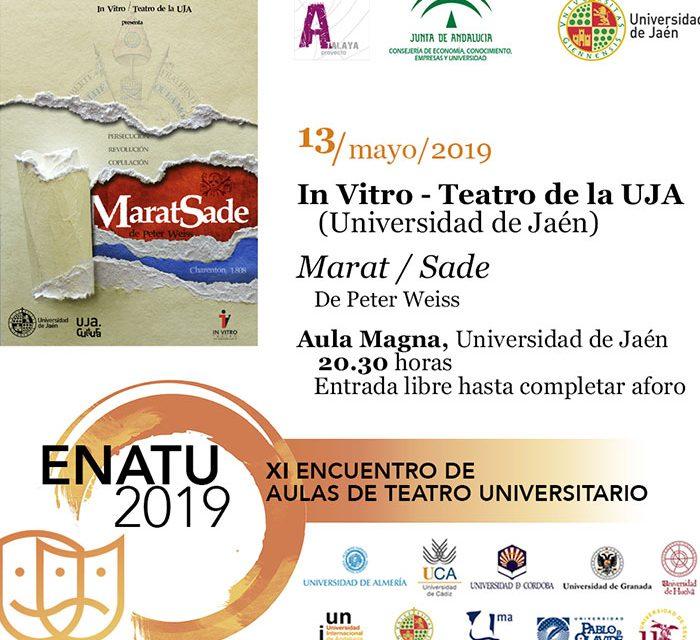 La UJA reanuda el XI Encuentro de Aulas de Teatro Universitario, con la puesta en escena de 'Marat Sade', por In Vitro Teatro