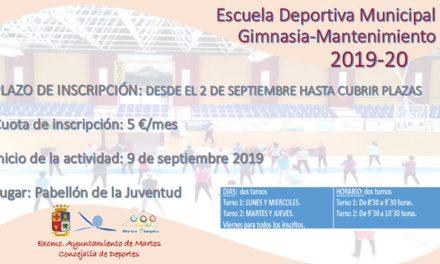Convocatoria de la Escuela Municipal de Gimnasia de Mantenimiento 2019-2020